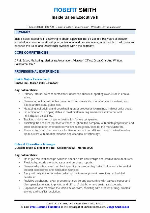inside sales executive resume samples