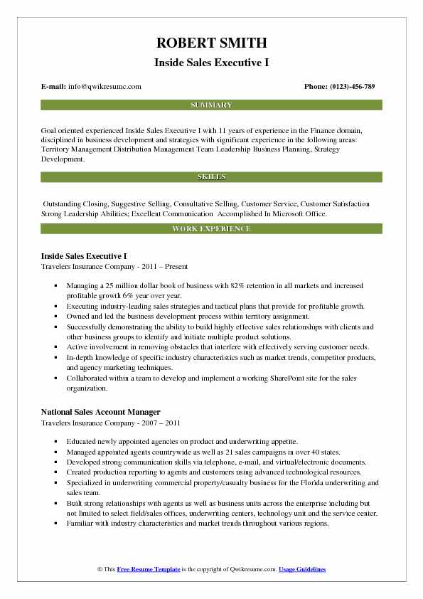 Inside Sales Executive Resume Samples | QwikResume