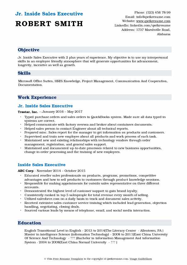 Jr. Inside Sales Executive Resume Example