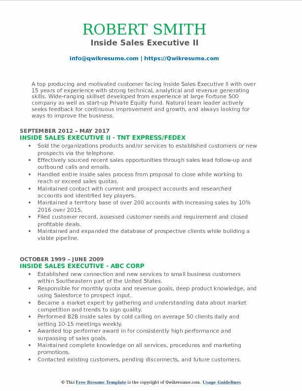 Inside Sales Executive II Resume Example