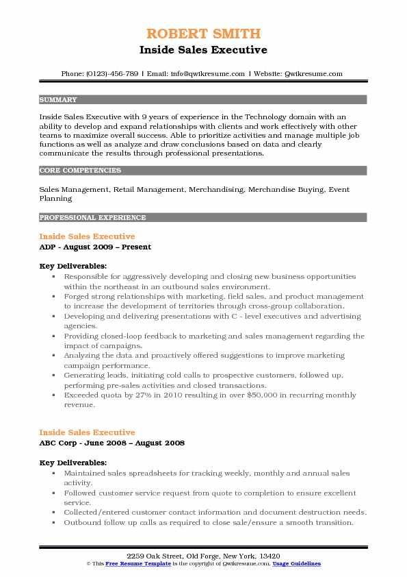 Inside Sales Executive Resume Sample
