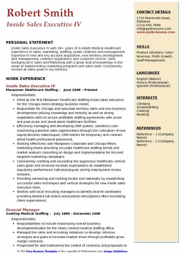 Inside Sales Executive IV Resume Example