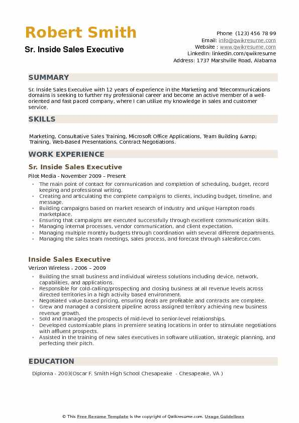sales executive resume templates