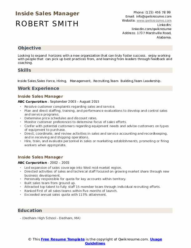 Inside Sales Manager Resume Format