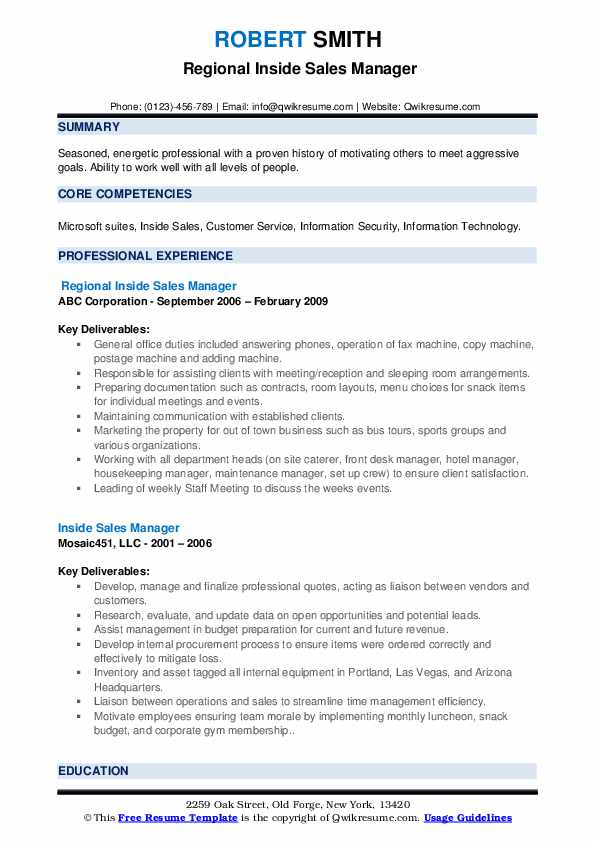 Regional Inside Sales Manager Resume Example