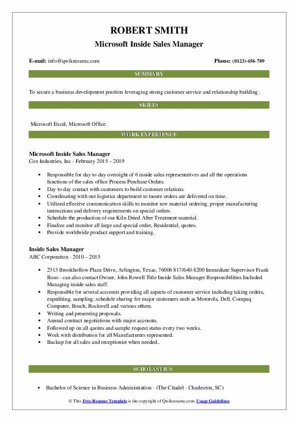 Microsoft Inside Sales Manager Resume Format