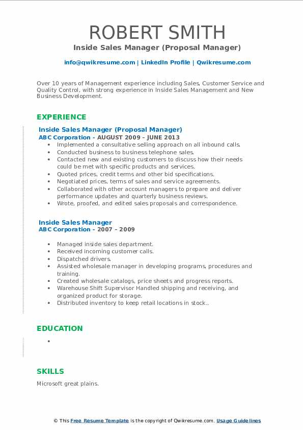 Inside Sales Manager (Proposal Manager) Resume Sample