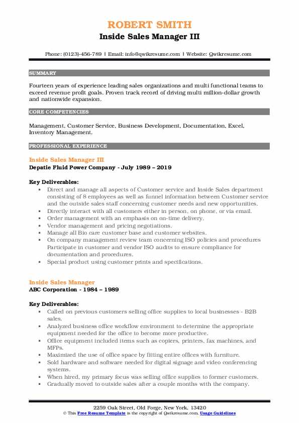 Inside Sales Manager III Resume Model