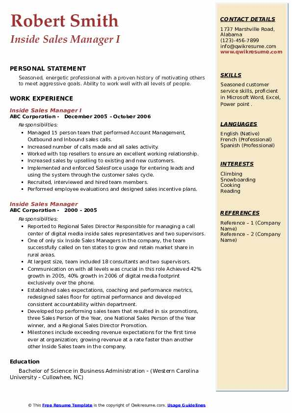 Inside Sales Manager I Resume Template