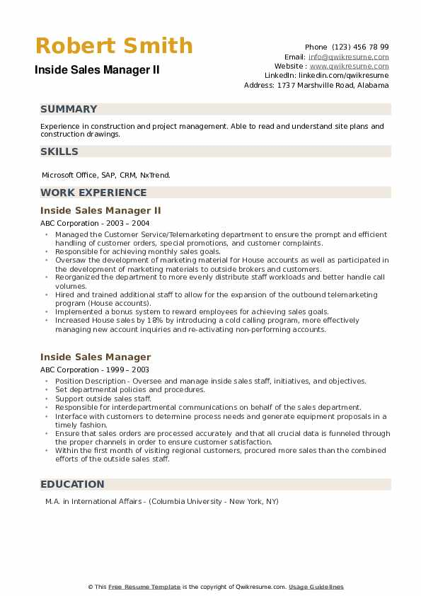 Inside Sales Manager II Resume Model