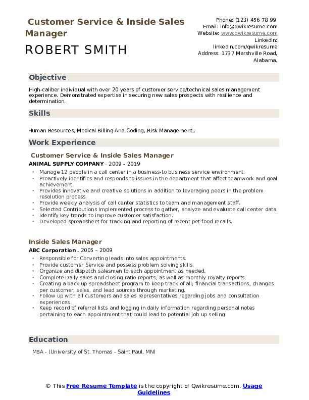 Customer Service & Inside Sales Manager Resume Example