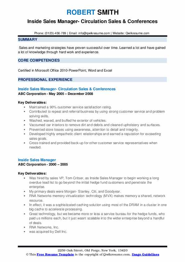 Inside Sales Manager Resume example