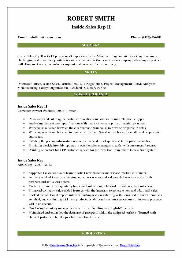 Inside Sales Rep II Resume Sample
