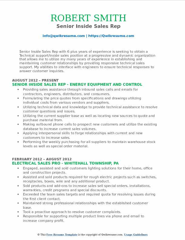 Inside Sales Rep Resume Samples Qwikresume