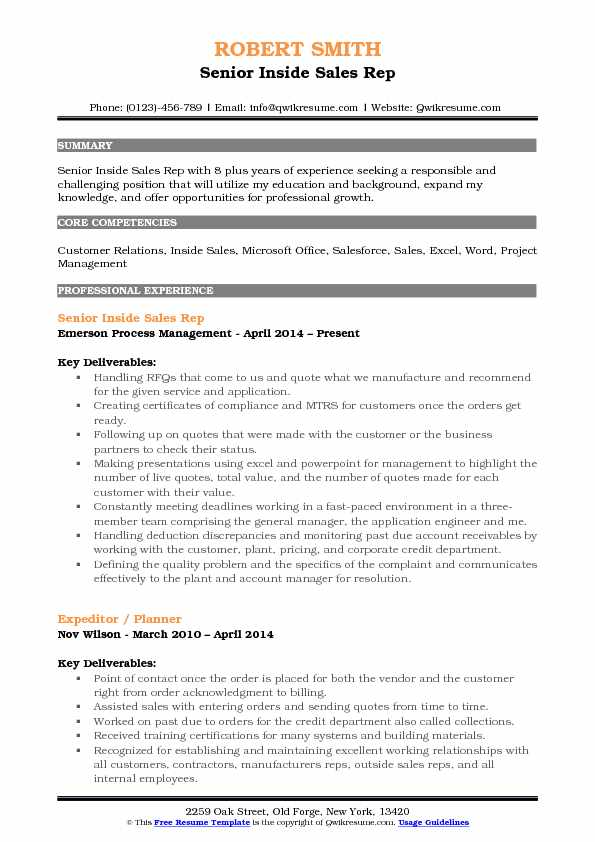 Senior Inside Sales Rep Resume Example