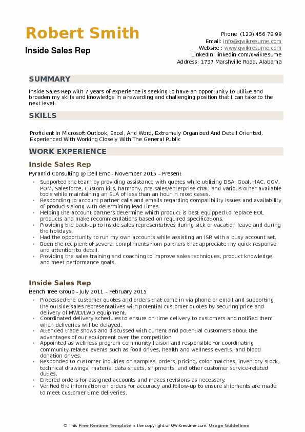 Inside Sales Rep Resume example