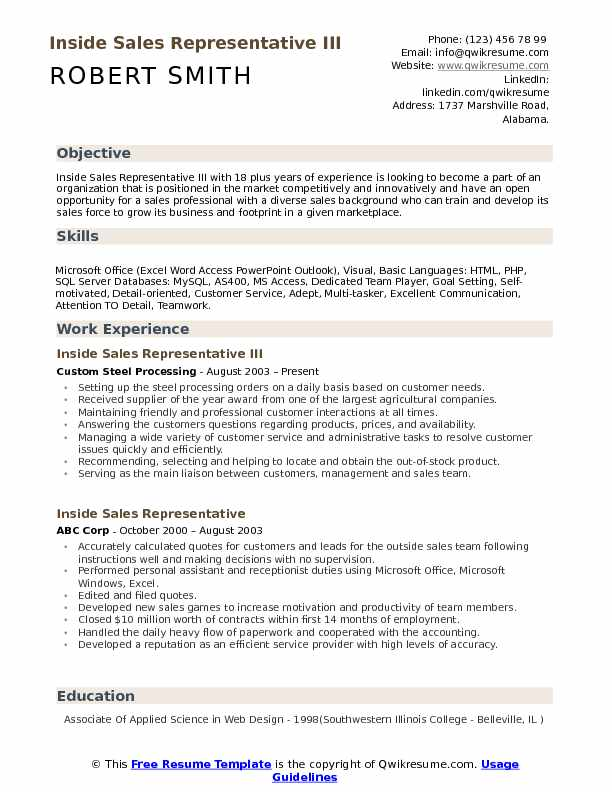 resumes for sales position