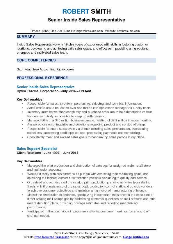 Senior Inside Sales Representative Resume Model