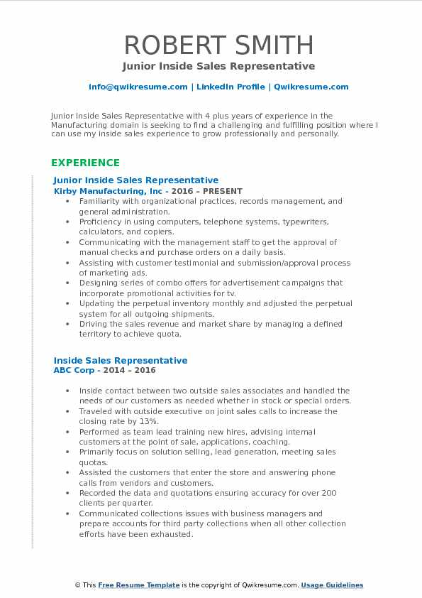 Inside Sales Representative Resume Samples