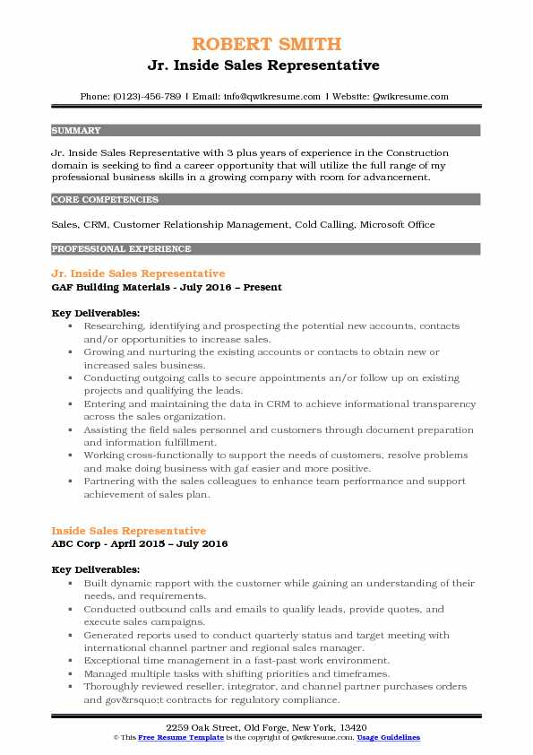 Jr Inside Sales Representative Resume Example