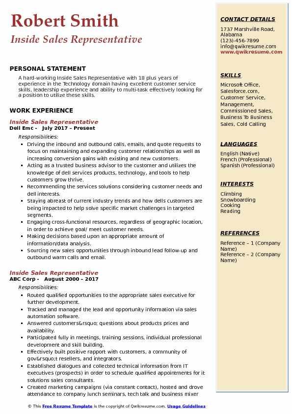 Inside Sales Representative Resume Model