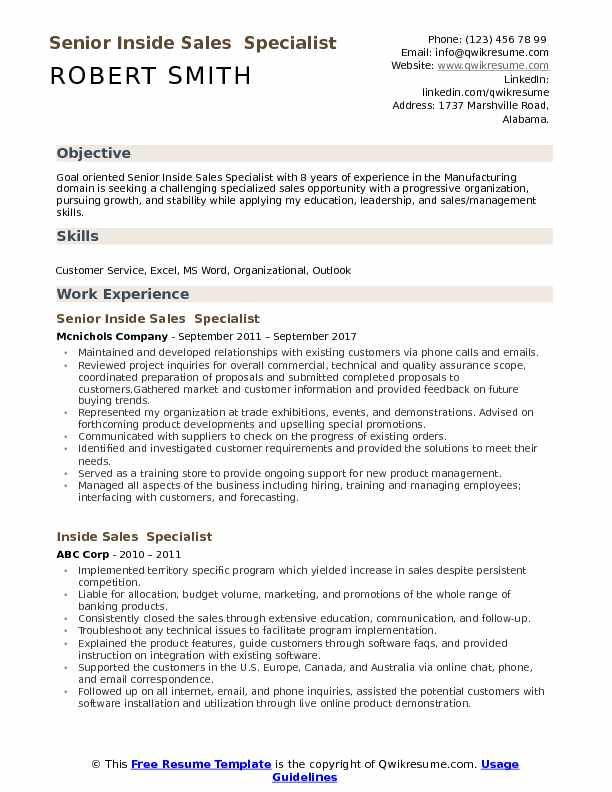 Senior Inside Sales  Specialist Resume Example