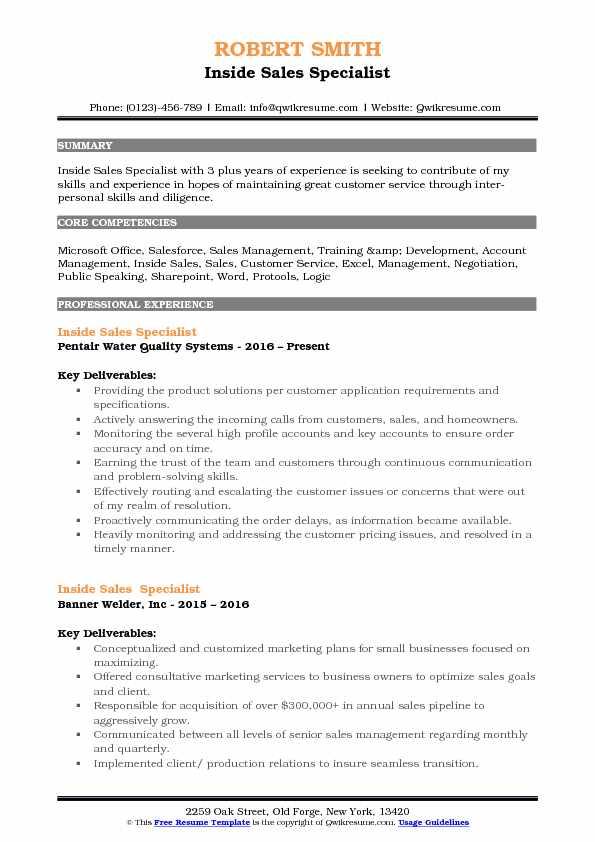 Inside Sales Specialist Resume Sample