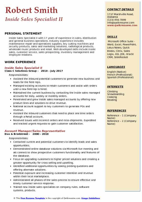 Inside Sales Specialist II Resume Example