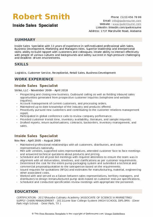 Inside Sales Specialist Resume example