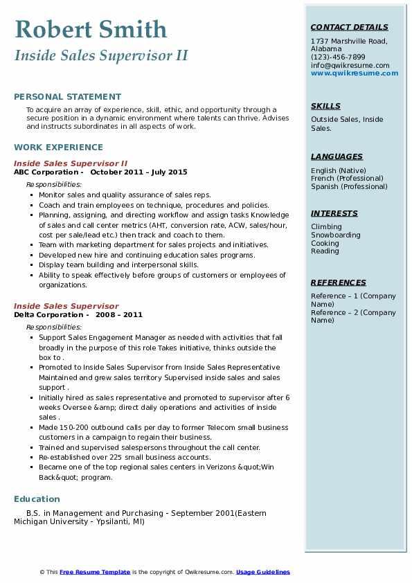 inside sales supervisor resume samples