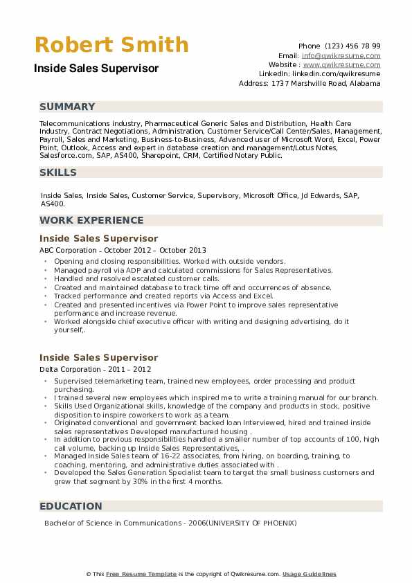 Inside Sales Supervisor Resume example