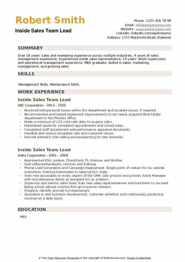 Inside Sales Team Lead Resume example