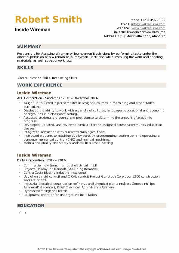 Inside Wireman Resume example