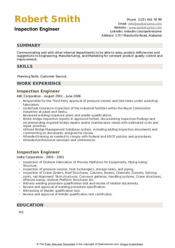 Inspection Engineer Resume example