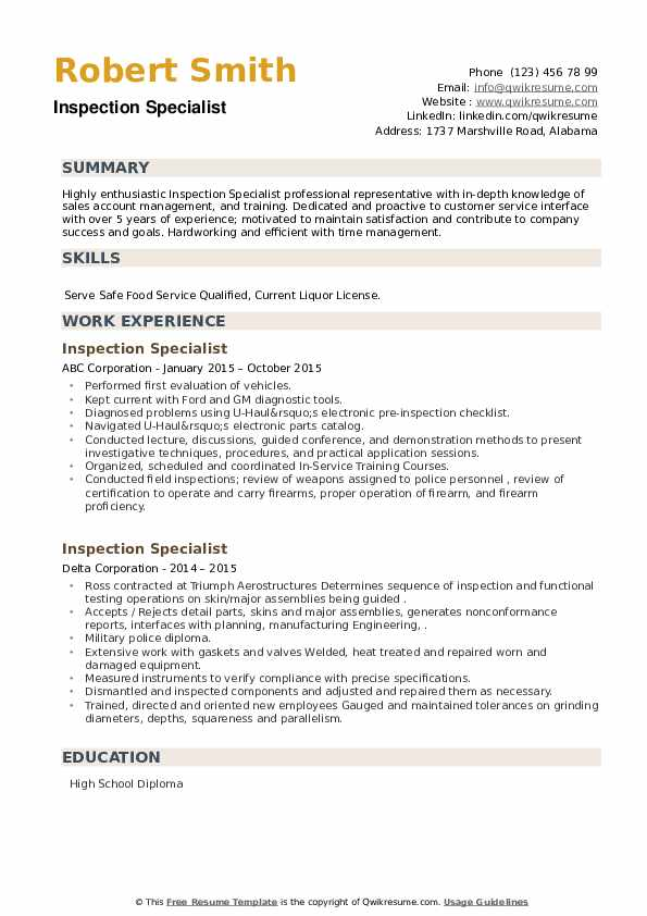 Inspection Specialist Resume example