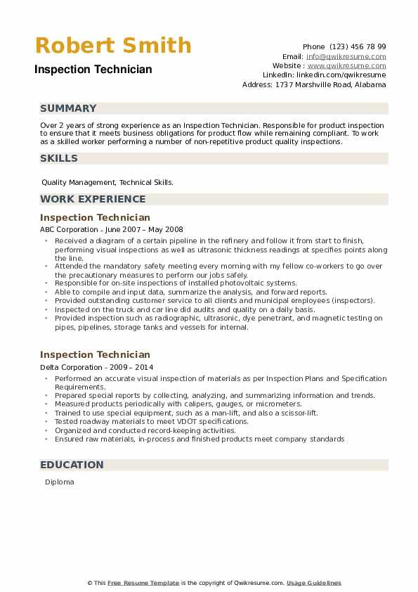 Inspection Technician Resume example