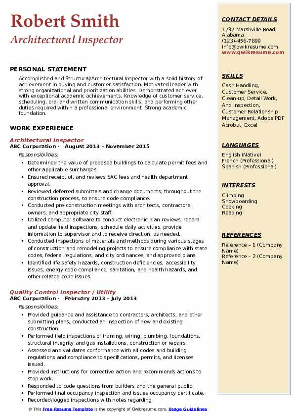 Architectural Inspector Resume Example
