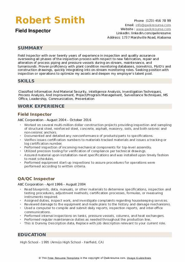 Inspector Resume example