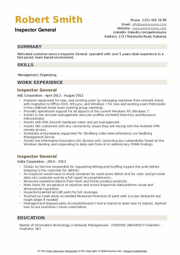 Inspector General Resume example