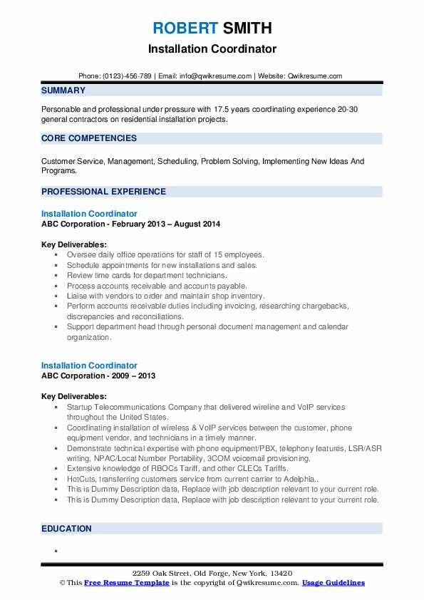 Installation Coordinator Resume example
