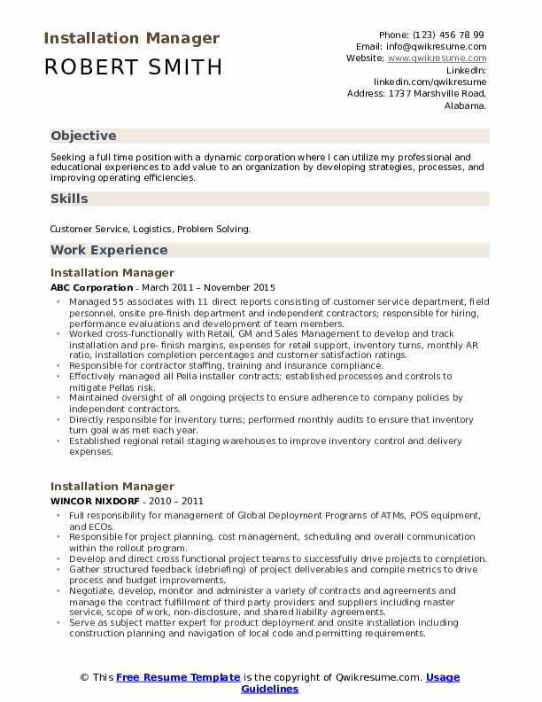 Installation Manager Resume Format