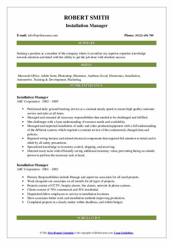 Installation Manager Resume Sample