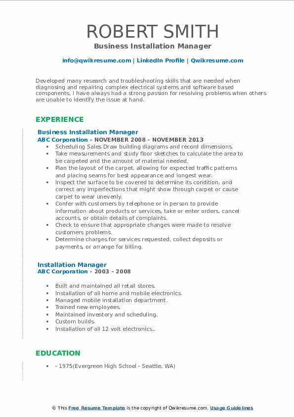 Business Installation Manager Resume Template