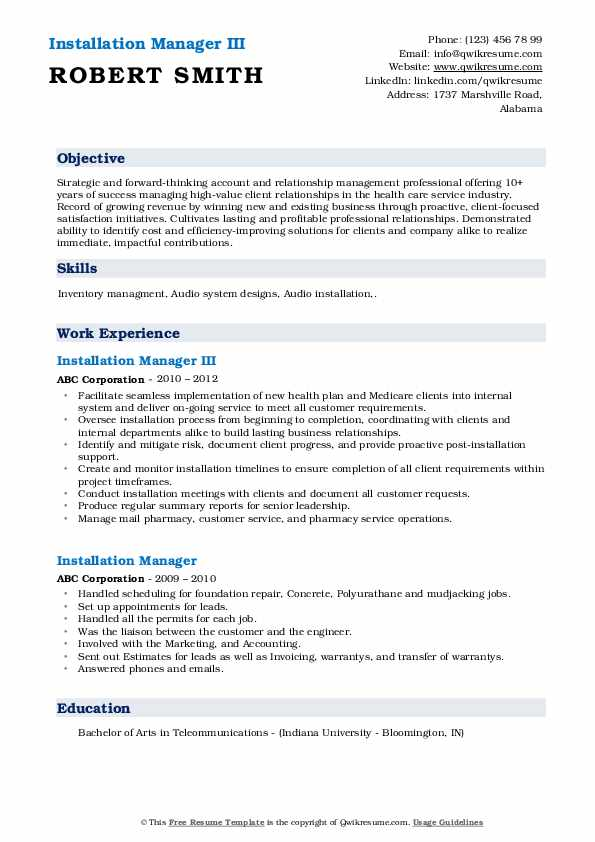Installation Manager III Resume Template