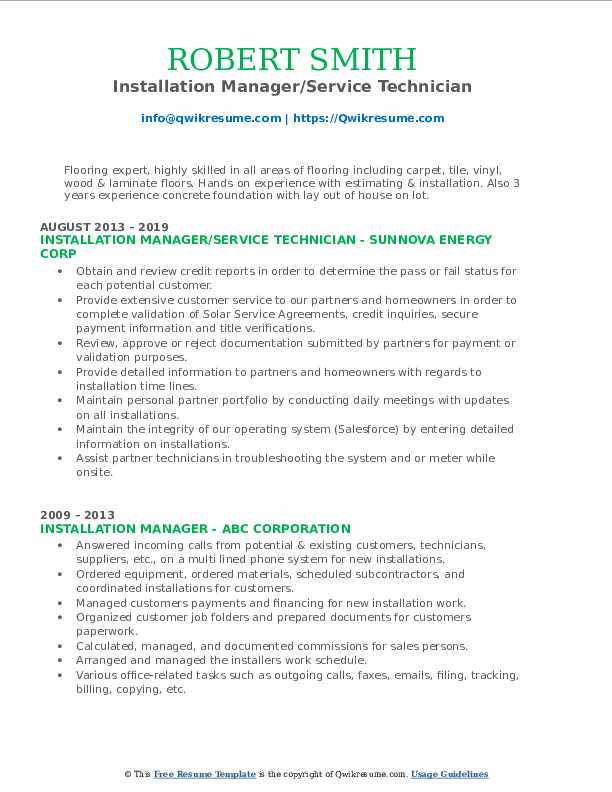 Installation Manager/Service Technician Resume Sample