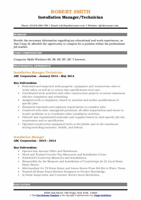 Installation Manager/Technician Resume Format