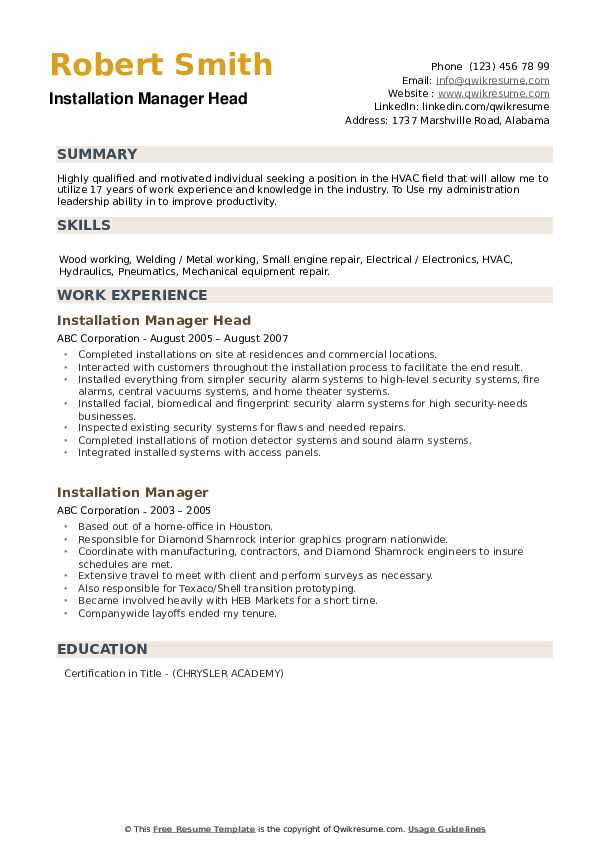 Installation Manager Head Resume Model
