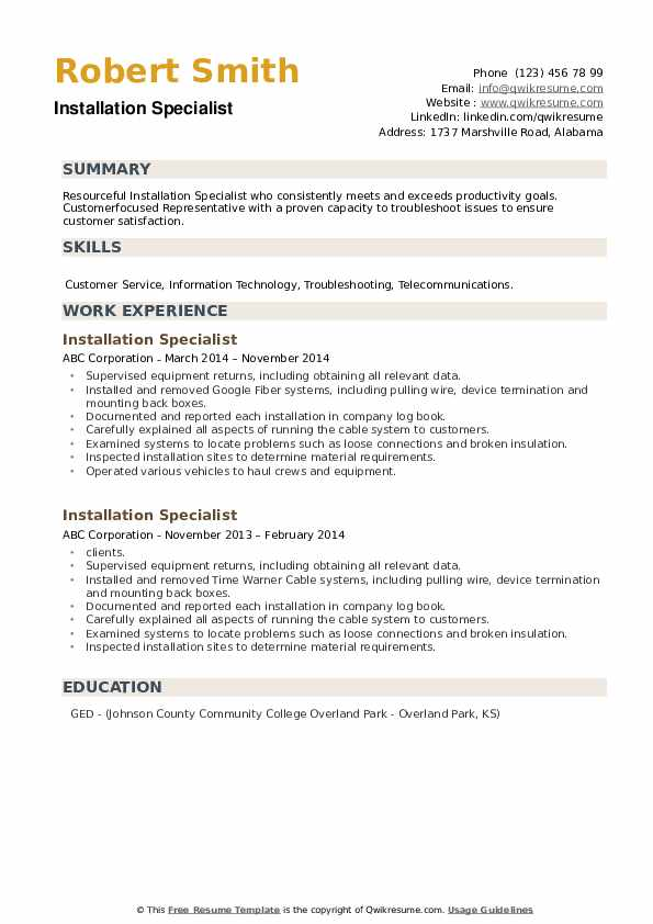 Installation Specialist Resume example