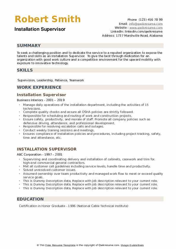 Installation Supervisor Resume example