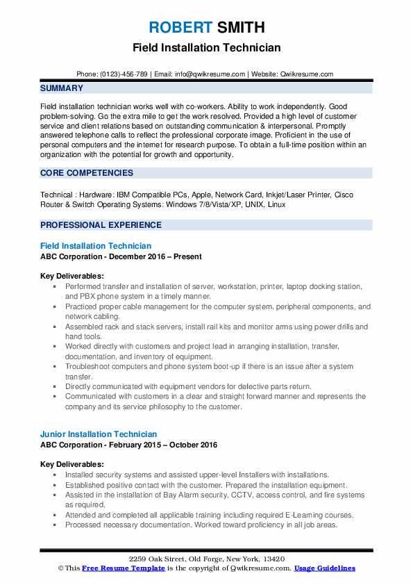Field Installation Technician Resume Format